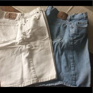 Arizon jean cut offs  loose fit ,wh and blue  8 ?
